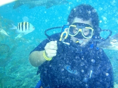 Pam in the scuba pool
